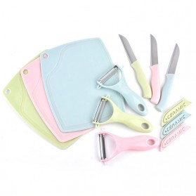 FEIDA Talenan Multifungsi Cutting Board with Ceramic Knife + Peeling Knife - 0036 - Pink - 2