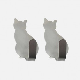 Dekorasi Rumah - Alloet Gantungan Dinding Multifungsi Wall Hook Hanger Model Kucing 2PCS - CAT01 - Silver