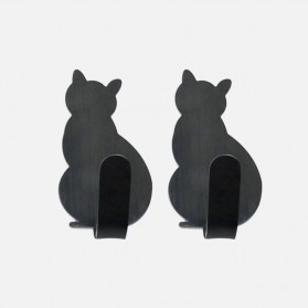 Dekorasi Rumah - Alloet Gantungan Dinding Multifungsi Wall Hook Hanger Model Kucing 2PCS - CAT01 - Black