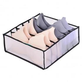 Junejour Kotak Sekat Pembatas Pakaian Closet Organizer Storage Bra Box 6 Grid - M1467 - Black