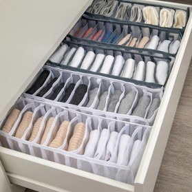 Junejour Kotak Sekat Pembatas Pakaian Closet Organizer Storage Bra Box 6 Grid - M1467 - Black - 2
