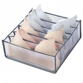 Junejour Kotak Sekat Pembatas Pakaian Closet Organizer Storage Bra Box 6 Grid - M1467 - Gray
