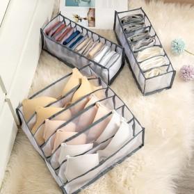 Junejour Kotak Sekat Pembatas Pakaian Closet Organizer Storage Bra Box 6 Grid - M1467 - Gray - 3