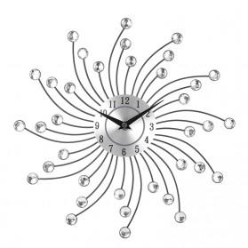 TOACT Jam Dinding 3D Quartz Creative Design Model Luxury Diamond 33 cm - H3 - Silver