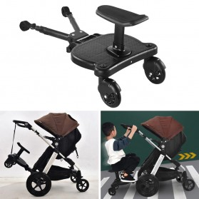 SPMART Stroller Bayi Tambahan Pedal Adapter Second Trolley Auxiliary Trailer Scooter - GCY-W003 - Black