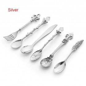 Piafor Set Sendok Garpu Teh Vintage Teaspoon Fork Royal Style - LTA057 - Silver
