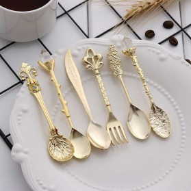 JYC Set Sendok Garpu Teh Vintage Teaspoon Fork Royal Style - LTA057 - Golden - 2