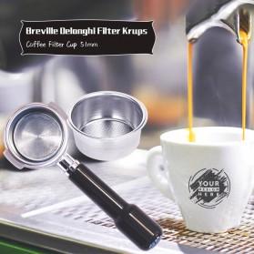 Dalinwell Wadah Penyaring Kopi Non Pressurized Basket 2 Cup 51mm for Breville Delonghi Krups - DL-01 - Silver - 3