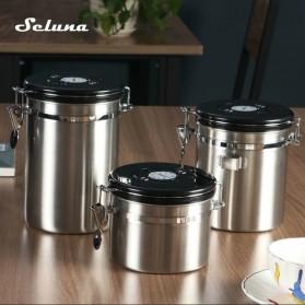Seluna Tempat Kopi Gula Susu Coffee Bean Container Stainless Steel 1500ML - KFMFG01 - Silver - 7
