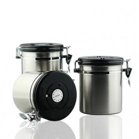 Seluna Tempat Kopi Gula Susu Coffee Bean Container Stainless Steel 1500ML - KFMFG01 - Silver - 8