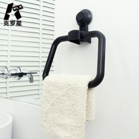 KLX Gantungan Handuk Bathroom Hanger Towel Holder Ring Strong Suction - KLA1834 - Black