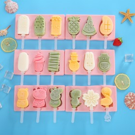 Allforhome Cetakan Es Krim 3 Hole Silicone Mold Dessert with Popsicle Sticks - JS282 - Pink - 3