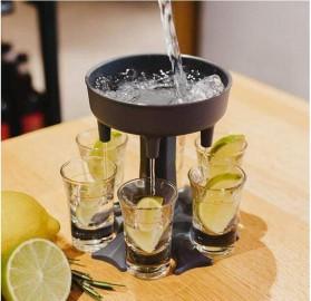 SIRF Dispenser & Holder Gelas Minuman Party 6 Shot Glass - SCD-6 - Gray