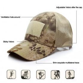 GUMAO Topi Mesh Baseball Army Look Cap with Velcro - PLY-CAP-01 - Black - 2