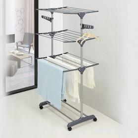 GIANTEX Rak Gantungan Jemuran Handuk Baju Drying Rack 3 Layer - TW116 - White