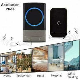 Aibont Bel Pintu Wireless Doorbell LED 45 Tunes 1 PCS Receiver 1 PCS Transmitter - Q189 - Black - 2