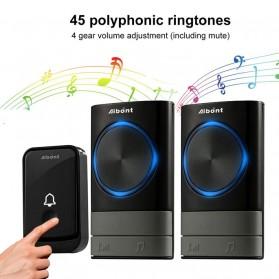Aibont Bel Pintu Wireless Doorbell LED 45 Tunes 1 PCS Receiver 1 PCS Transmitter - Q189 - Black - 8