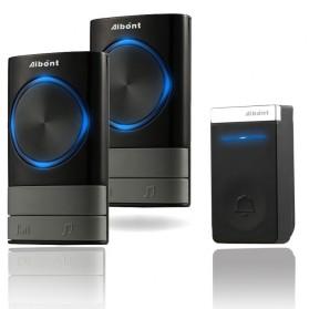 Aibont Bel Pintu Wireless Doorbell LED 45 Tunes 2 PCS Receiver 1 PCS Transmitter - N189 - Black