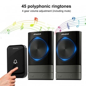 Aibont Bel Pintu Wireless Doorbell LED 45 Tunes 1 PCS Receiver 1PCS Transmitter - N189 - Black - 8