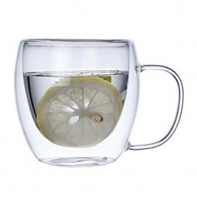 NEYDA Gelas Cangkir Kopi Anti Panas Double-Wall Borosilicate Glass Round Series 150ml - Transparent
