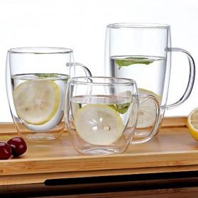 NEYDA Gelas Cangkir Kopi Anti Panas Double-Wall Borosilicate Glass Round Series 150ml - Transparent - 2