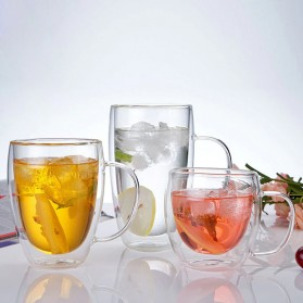 NEYDA Gelas Cangkir Kopi Anti Panas Double-Wall Borosilicate Glass Round Series 150ml - Transparent - 6