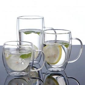 NEYDA Gelas Cangkir Kopi Anti Panas Double-Wall Borosilicate Glass Round Series 150ml - Transparent - 7