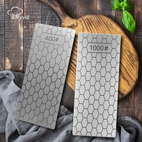 MYVIT Pengasah Pisau Diamond Honeycomb Whetstone Knife Sharpener Double Sided 1000 & 400 - Wkss-05 - Silver