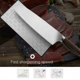 MYVIT Pengasah Pisau Diamond Honeycomb Whetstone Knife Sharpener Double Sided 1000 & 400 - Wkss-05 - Silver - 6