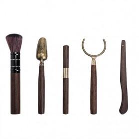 NLSLASI Set Perlengkapan Teh Chinese Tea Bamboo Spoon Brush 5 PCS - NL30 - Black