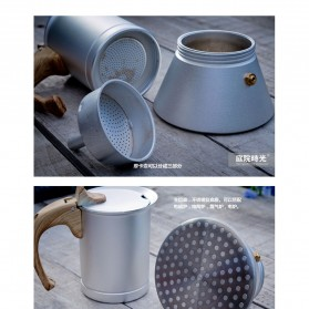 Teko Pembuat Kopi Espresso Coffee Maker Moka Pot Stovetop Filter 300ml - T0013 - Silver - 4