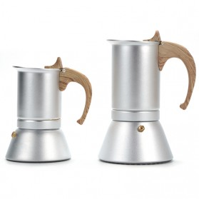 Teko Pembuat Kopi Espresso Coffee Maker Moka Pot Stovetop Filter 300ml - T0013 - Silver - 7