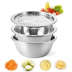Formhome Ember Baskom 3in1 Saringan Parutan Drain Basket Grater 26cm - FVT20 - Silver