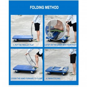 WPRO Trolley Barang Lipat Folding Cart Silent Wheel 70x48CM 150KG - FPT-300 - Blue - 5