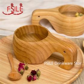 FSILE Cangkir Kayu Teh Kopi Tea Mug Traditional Chinese 270ml - F0321 - Wooden