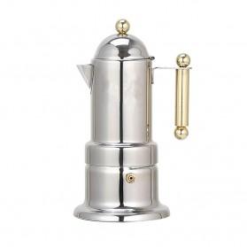 Teko Pembuat Kopi Espresso Coffee Maker Moka Pot Stovetop Filter Italian Design - T0020 - Silver