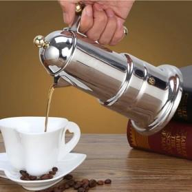 KONTESSA Teko Pembuat Kopi Espresso Coffee Maker Moka Pot Stovetop Filter Italian Design - T0020 - Silver - 2