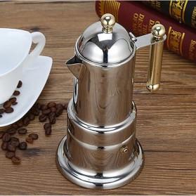 KONTESSA Teko Pembuat Kopi Espresso Coffee Maker Moka Pot Stovetop Filter Italian Design - T0020 - Silver - 3