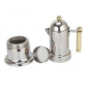 KONTESSA Teko Pembuat Kopi Espresso Coffee Maker Moka Pot Stovetop Filter Italian Design - T0020 - Silver - 4