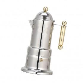 KONTESSA Teko Pembuat Kopi Espresso Coffee Maker Moka Pot Stovetop Filter Italian Design - T0020 - Silver - 5