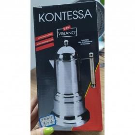 KONTESSA Teko Pembuat Kopi Espresso Coffee Maker Moka Pot Stovetop Filter Italian Design - T0020 - Silver - 6