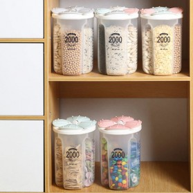 SSGP Toples Wadah Penyimpanan Beras Sereal Oats Storage Jar 4 Slot 2500ml - XYD-A082 - Transparent - 9