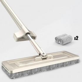 WANJIAXIN Alat Pel Magic Self-Cleaning Squeeze Mop with 2 PCS Mob Cloth - BYJT-002 - Khaki