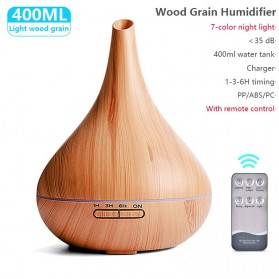 LISM Air Humidifier Aromatherapy Oil Diffuser Wood Design - LI24 - Yellowish Brown