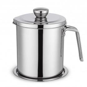 COOKKIT Panci Saringan Minyak Oil Strainer Pot Stainless Steel 1.8L - HP-OCS18L - Silver
