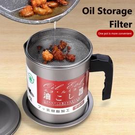 GRAVYO Tempat Saringan Minyak Oil Strainer Pot Stainless Steel 1.7L - G2103 - Silver