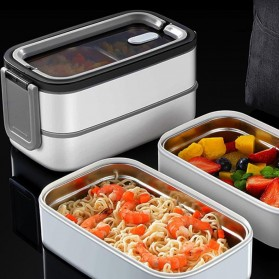 EUJJ Kotak Makan Bento Lunch Box Stainless Steel 2 Compartments - J274 - White