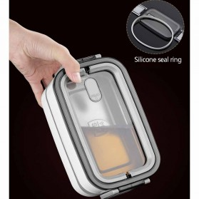 EUJJ Kotak Makan Bento Lunch Box Stainless Steel 3 Compartments - J274 - White - 4