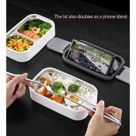 EUJJ Kotak Makan Bento Lunch Box Stainless Steel 3 Compartments - J274 - White - 5