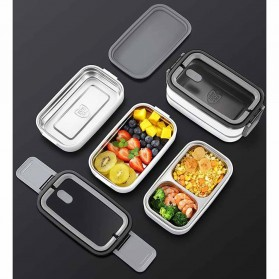EUJJ Kotak Makan Bento Lunch Box Stainless Steel 3 Compartments - J274 - White - 6
